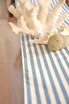 Beach Wedding Cottage Shabby Chic Striped Blue Linen by Jessmy, $12.00