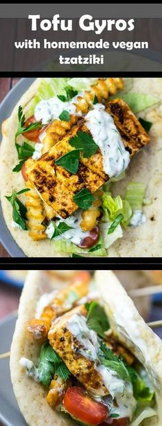 Grilled Tofu Gyros | Yup, it's Vegan. Tofu marinated in Greek herbs and spices, olive oil, then grilled or baked to perfect and topped with homemade dairy-free vegan tzatziki sauce.