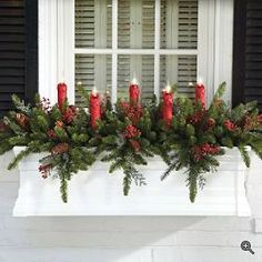 Decorating the window for Christmas is incredibly important. Here are some Christmas Window Decor Ideas that you'll like. Winter Window Boxes, Christmas Window Boxes, Christmas Planters, Christmas Window Decorations, Christmas Porch, Country Christmas, Christmas Wreaths, Christmas Crafts, Holiday Decor
