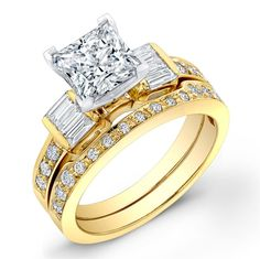 1.23 Carat princess cut diamond engagement ring & band SI H