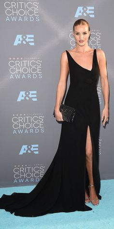 2016 Critics' Choice Awards: ROSIE HUNTINGTON-WHITELEY The model-actress stunned in a sweeping one-shoulder black gown.