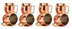 Pure Copper Moscow Mule Mug  For Restaurant Set 8 Mugs 16oz Hammered nickel. #VisvabhavanahMart
