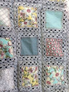 Crochet Afghans Ideas Fabric Crochet Quilt Is The Project You've Been Looking For - This Fabric Crochet Quilt is beyond gorgeous and you will love to make it for a favourite space in your place. We've included a video tutorial to assist. Crochet Afghans, Crochet Squares, Crochet Blanket Patterns, Crochet Granny, Crochet Stitches, Granny Squares, Crochet Blankets, Crochet Edgings, Fabric Squares