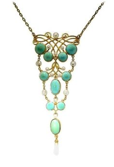 A turquoise and pearl necklace from the Art Nouveau era