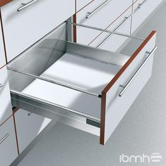 Blum Blumotion Pan Drawer - Made to Measure Doors, Cabinets and Wardrobes for Fitted Kitchens and Bedrooms Kitchens And Bedrooms, Kitchen Storage, Bunk Beds, Custom Made, Drawers, Wall, Fitted Kitchens, Furniture, Home Decor