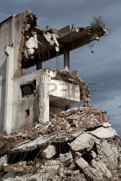 Remains from the demolition of old derelict buildings.