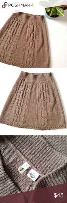 """Anthropologie Cable Knit Sweater Skirt Cable knit """"flowing cables"""" sweater skirt from Anthropologie brand Moth. Size: M. Color: Tan. 90% wool, 10% nylon. 24 inches long. A-line. Anthropologie Skirts A-Line or Full"""