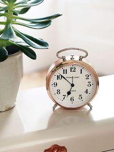 A timeless traditional design perfect for any bedside table, our bedside alarm wall clock is cased in weighty metal with a metallic copper finish. The clear face includes classic hands that have a silent non-ticking movement and an easy to use alarm funct Cool Stuff, Or Rose, Rose Gold, 5 Minute Makeup, Makeup Routine, My New Room, Traditional Design, Traditional Decorating, Decoration
