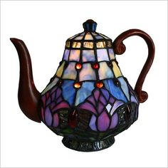 Tulip Teapot Table Lamp Bingli International.  Looks like Tiffany.