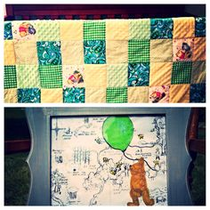 Traditional Winnie the Pooh Nursery Quilt and by CPeachBoutique