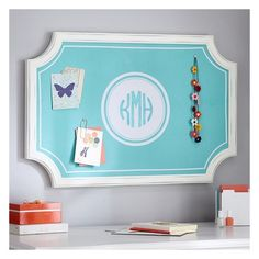 PB Teen Complete Scallop Pinboard, Mono Pool, Vertical at Pottery Barn... (155 CAD) ❤ liked on Polyvore featuring home, home decor, pbteen and personalized home decor