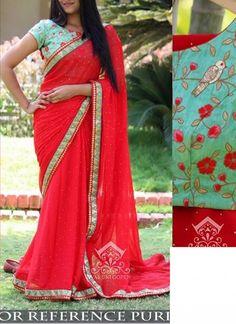 New Red Georgette Designer Saree