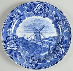 Nantucket Windmill luncheon plate in Massachusetts Historic Scenes Roses Border by Wedgwood