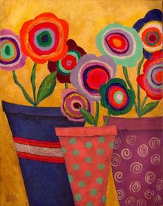 Original Acrylic Painting on Canvas Modern Folk Art Abstract Flowers Floral Pots J Blake Folk Art Flowers, Abstract Flowers, Flower Art, Abstract Art, Acrylic Painting Canvas, Canvas Art, John Blake, Zentangle, Watercolor Paintings For Beginners