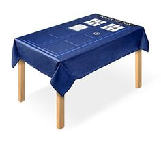 Travel through time and space with this Doctor Who Tablecloth! Featuring an image of the Doctor's famous TARDIS time machine, this tablecloth is made of 35% Cot