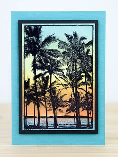 Card by Rachel Greig using Darkroom Door Palm Trees Photo Stamp with Distress Inks!