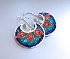 Cuento cloisonne enamel silver earrings by agoraart on Etsy, $150.00
