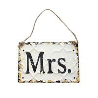 "Metal Plaque with ""MRS."" in Black Print - 6"" Wide - Wedding Decoration  CRT-DA2335A-MRS $7.79"
