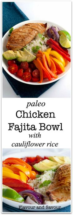 Paleo Chicken Fajita Bowl with Cauliflower Rice. A paleo Tex-Mex meal in a bowl with low-carb cauliflower rice, succulent chicken breasts, peppers, onions, tomatoes and avocado. An easy weeknight meal. Paleo!