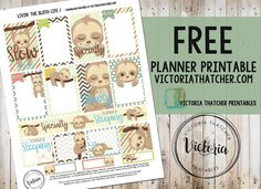 Livin' The Sloth Life - VICTORIA THATCHER Free Planner, Happy Planner, Planner Ideas, 2017 Planner, Victoria Thatcher, Bullet Journal Cover Ideas, Printable Planner Stickers, Free Printables, Erin Condren