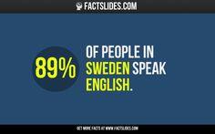 89% of people in Sweden speak English.