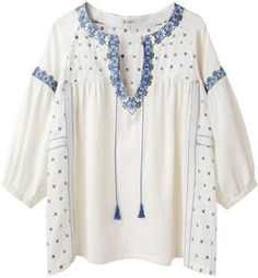 ShopStyle: Suno / Embroidered Peasant Top