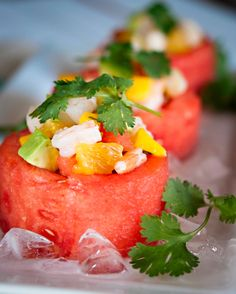 Shrimp Ceviche in Watermelon Cups