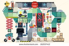 Robot factory board game for kids; infographics charts; symbols; graphic elements; illustrator vector; illustrator vector