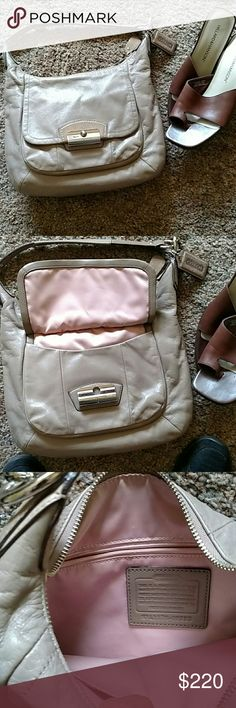Coach taupe bag Authentic.  Iddy Biddy, teensy markings on back noticeable only to eagle eye Coach Bags Shoulder Bags