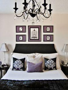 tapisserie en blanc noir et violet - Chambre Mauve Et Noir