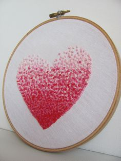 Embroidery French knot pink heart hoop art.