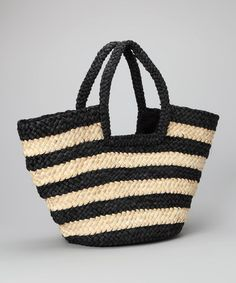 Take a look at this Black Stripe Tote by Straw Studios on #zulily today!