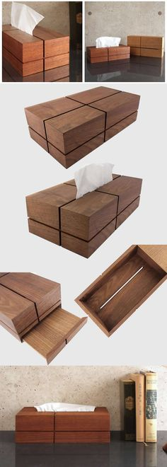 Natural Wood Wooden Tissue Box Cover Holder Wooden Tissue Box Case Holder