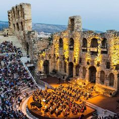 Odeon of Herodes Atticus in Athens Greece Greece Vacation, Greece Travel, Greece Trip, Beautiful Nature Pictures, Beautiful Places, Greece Holiday Destinations, Monuments, Places Around The World, Around The Worlds