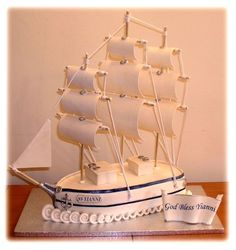 Sailing Ship  Sailing Ship Fondant covered cake with fondant decorations....thanks for looking!