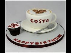 How to Make a Costa Coffee Cup Novelty Cake Fondant Tutorial | Ceri Badham | Fancy Cakes by Linda - YouTube