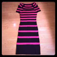 """Pink Rose sweater dress Suuuuper cute pink/black striped sweater dress by Pink Rose. Has a cowl neck with 3 buttons on each side. Warm and cozy for fall/winter. Tag says size S petite but I am 5'6"""", a size 6 and I love the way this dress fits on me. It measures just over 35 inches from top to bottom. It is super comfy and very flattering. I'd say it's best for a size 4/6. Worn a handful of times but still in great condition. No defects. Pink Rose Dresses Midi"""
