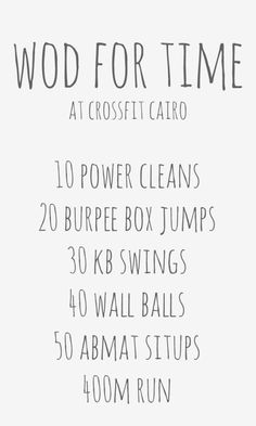 WOD for time at CrossFit Cairo for 50 States In A Year