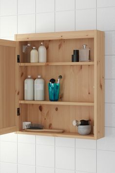IKEA SILVERÅN mirror cabinet You can mount the door to open from the right or left. Bathroom Mirror Cabinet, Ikea Bathroom, Mirror Cabinets, Bathroom Layout, Bathroom Cabinets, Bathroom Storage, Bathroom Interior, Small Bathroom, Basin Cabinet
