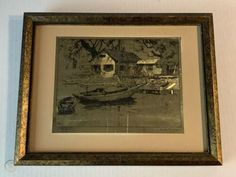 """$50 2020 Vintage Signed """"Point Pleasant"""" Lionel Barrymore Gold Etched Framed Perkowitz DS 