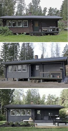 time of the aquarius: 08 / / 2016 Cottage makeover Mobile Home Renovations, Remodeling Mobile Homes, Lakeside Cabin, Tiny House Cabin, Black House, Bauhaus, Cottage, Exterior, House Design