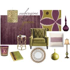 With a background of a pale, smokey gray walls, imagine the richness of aubergine and green in your home...