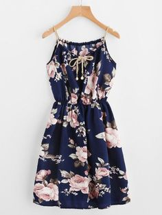 Braided Bead Strap Tie Front Flower Print Dress
