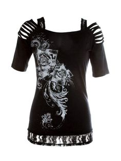 I found 'Rose Slasher Graphic Top' on Wish, check it out!