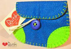 Porta Moedas retangular azul