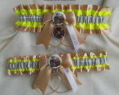 Firefighter Wedding Garters Maltese Cross Turn Out Gear Bunker Gear Tan or Black Neon Yellow Garters