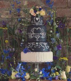 Chalkboard wedding cake from The Whimsical Cake Company based in Uk #weddings #flowers #weddingcakes