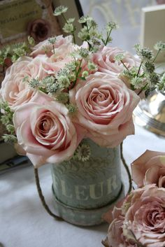 #Shabby #Chic #Décor make your house a home - Pretty pink vase of roses.. http://www.myshabbychicstore.com