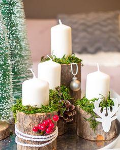 Advent arrangement DIY- Adventsgesteck DIY Instead of the classic Advent wreath comes this year … - Diy Candles, Pillar Candles, Decoration Chic, Advent Wreath, Deco Floral, Wine Bottle Crafts, Deco Table, Diy Weihnachten, Diy Garden Decor