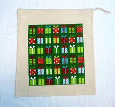 Christmas Applique Drawstring Bag, Christmas Gift Sack £6.00